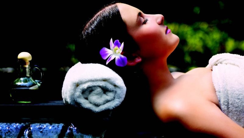 Woman relaxing in beauty spa franchise